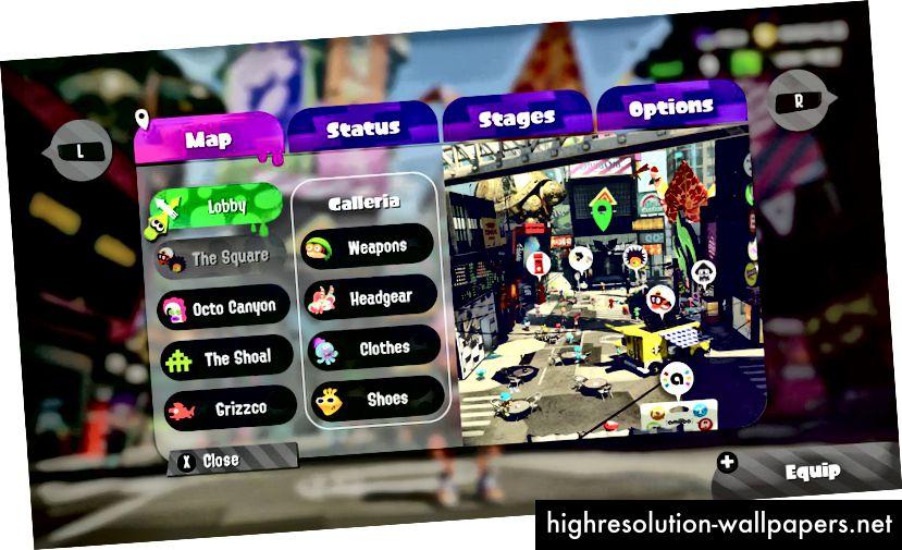 Splatoon 2s traditionelle menusystem