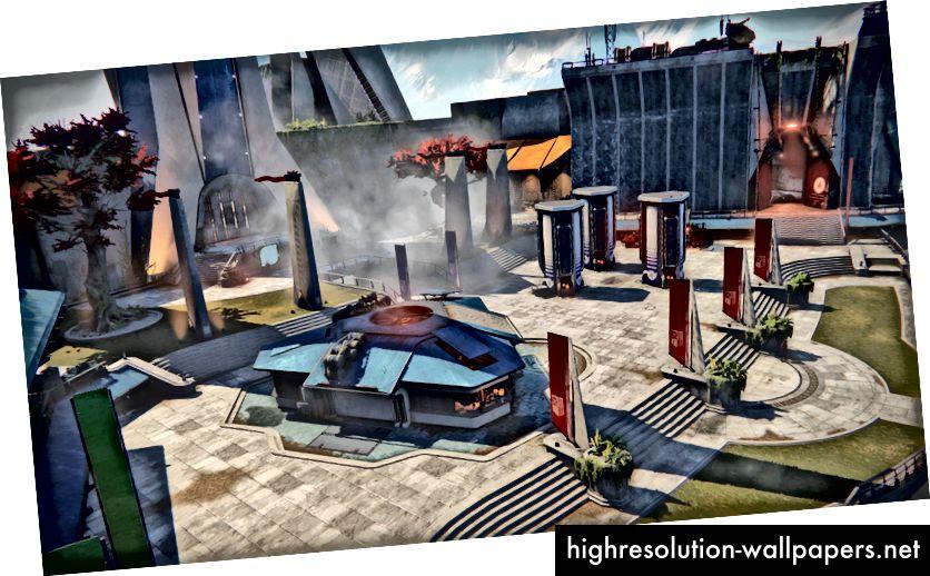 Tårnet, et socialt rum i Destiny, der indeholder leverandører som en postmester, kryptark, hvælvinger med mere.