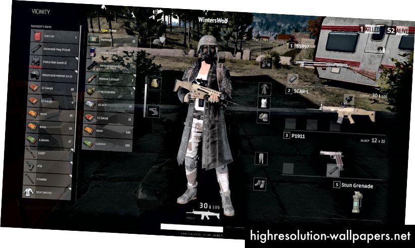 PlayerUnknown's Battlegrounds-oversigtsmenu, listen til venstre er emner i din tilgængelige nærhed