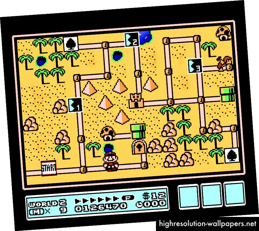 Verdenskort 2 i Super Mario Bros. 3 med kortspil, niveauer, svampehuse, slotte og varpzoner