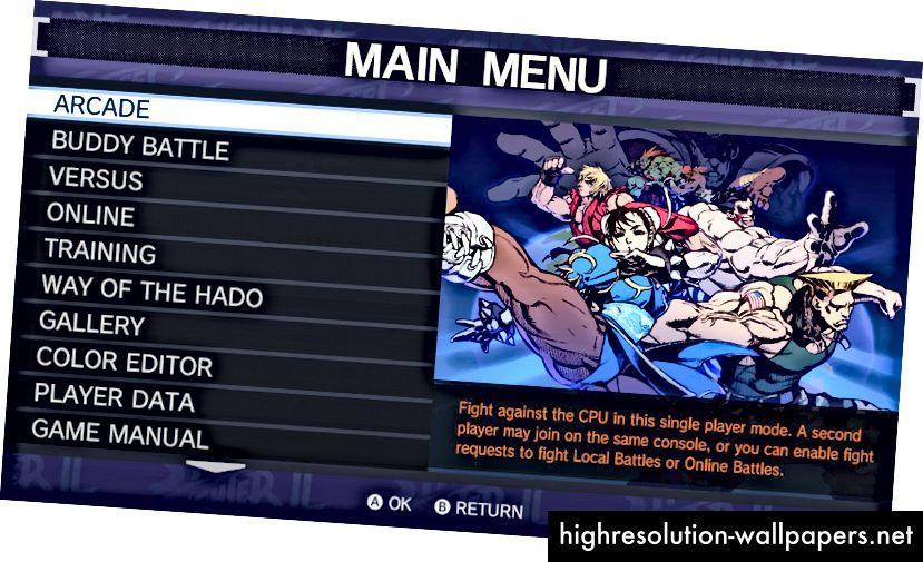 Ultra Street Fighter II: The Final Challengers er et moderne spil, der indeholder et listebaseret menussystem