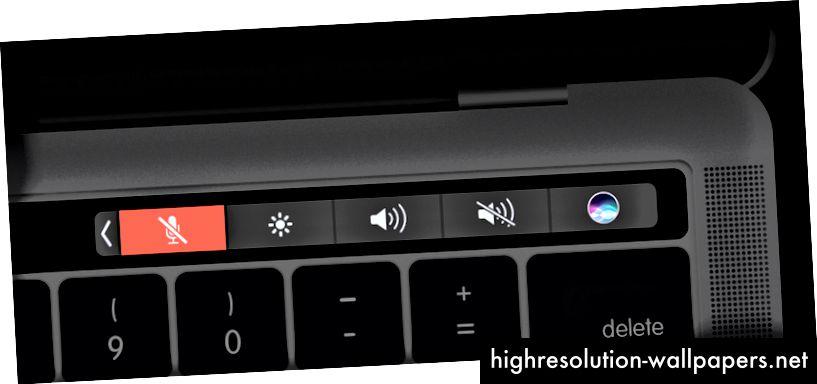 Touch Bar con un botón personalizado y cuatro botones constantes