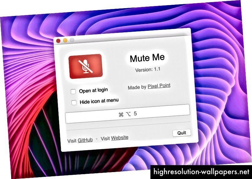 Ventana de inicio de la aplicación Mute Me con la configuración