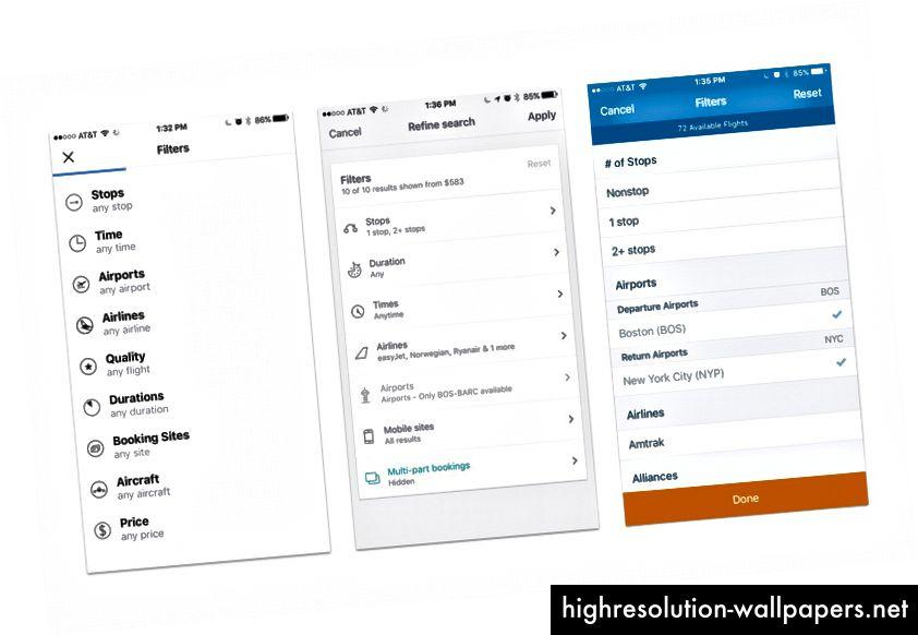Filtrer menuerne til forskellige flysøgning apps: Kayak, SkyScanner og Hipmunk