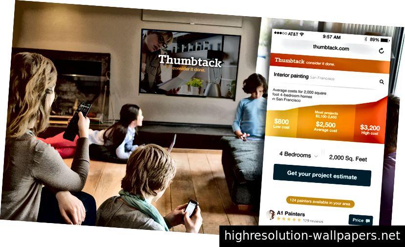 Una pantalla de establecimiento de una narrativa de visión de Thumbtack de finales de 2016 que se mostró a toda la compañía para alinear equipos en lo que finalmente se convirtió en nuestra estrategia Instant Match. Nos desviamos intencionalmente de la marca actual para que los equipos pensaran fuera de las limitaciones actuales.