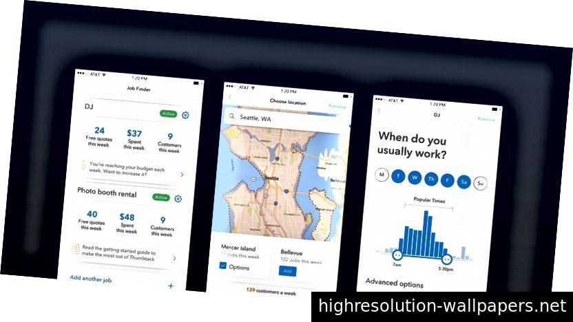 Wireframes de un proyecto de visión que hicimos en 2017 para mostrar cómo las preferencias laborales de un Thumbtack Pro podrían centrarse más en las oportunidades en los próximos años. Desde que lo compartimos con los equipos el verano pasado, lo enviamos gradualmente en pedazos mientras trabajamos para lograr la visión completa.