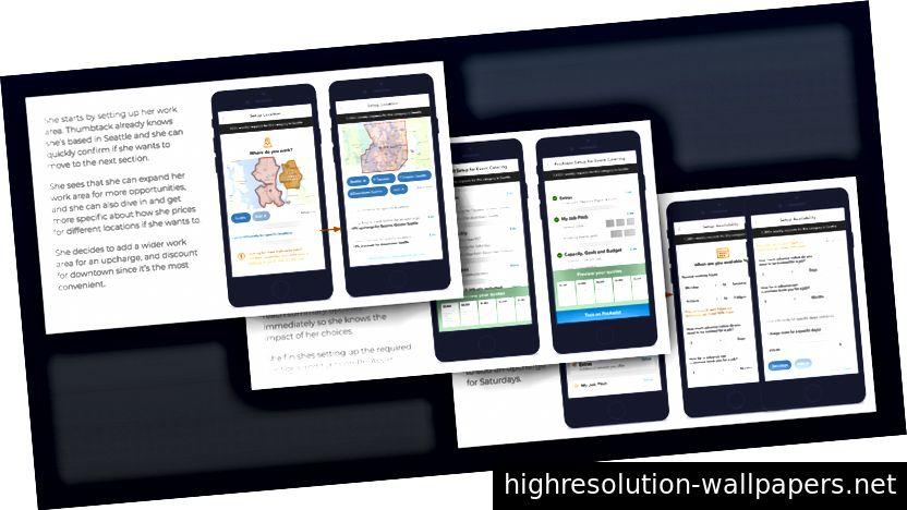 Una diapositiva de una historia de wireframe de baja fidelidad que creamos en el verano de 2017 que mostraba cómo un Thumbtack Pro podía configurar y administrar fácilmente sus categorías de servicios de trabajo. Unos meses después, creamos y lanzamos la pestaña Servicios en la aplicación Thumbtack Pro como resultado de esta visión.