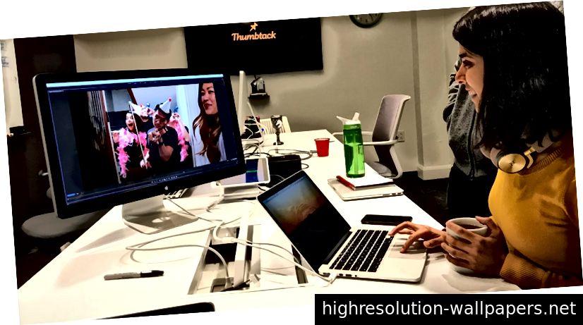 Edición de un video de visualización reciente en el estudio de diseño Thumbtack.