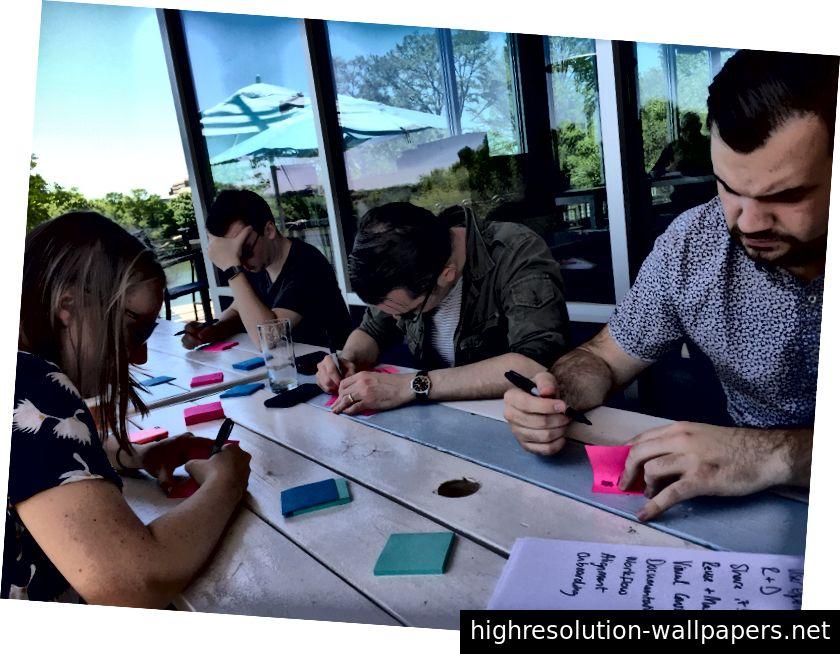 En planlægning og brainstorming med designledere under et team-topmøde i marts 2016. Vi er alle fjerntliggende, så vi får mest muligt ud af personlig tid.