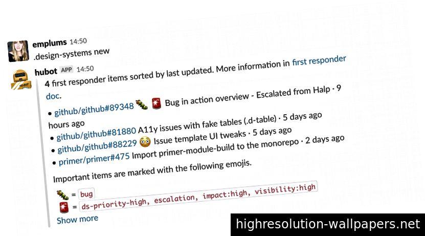 Et praktisk Hubot-script i Slack lader os udskrive en liste over emner, der har brug for opmærksomhed fra First Responder.
