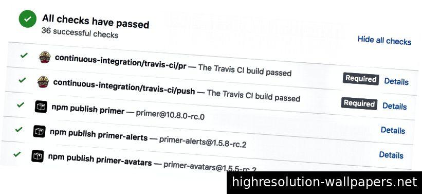 Ved hjælp af Travis CI offentliggøres nye alfaversioner til npm, når nogen fremsætter en ny pull-anmodning eller skubber ændringer op.