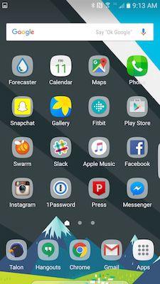 Samsungs launcher, der placerer ikoner på en cirkel baggrund. Billedkilde