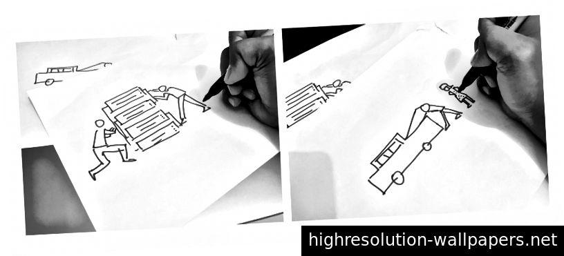 Proceso de dibujo: Izquierda (Historia 1 - Los expertos de la red están arreglando el servidor), Derecha (Historia 2 - Un hombre y su novia están reparando su automóvil).