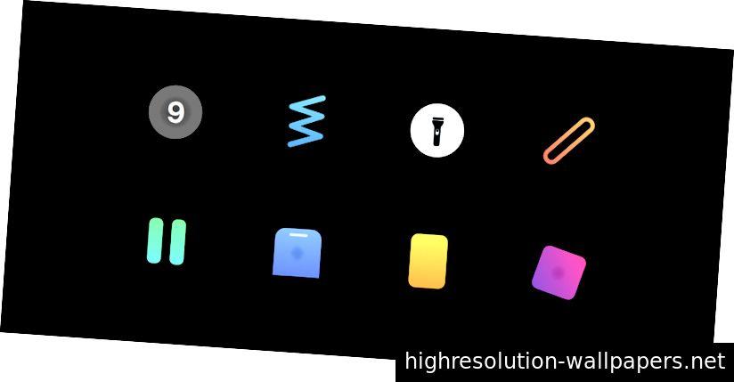 Иконки, представляющие восемь (8) интерфейсов, которые мы будем строить.