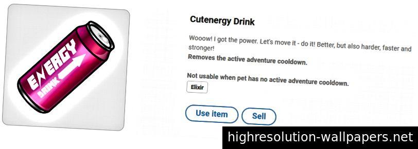 Cutenergy Drink - снимает время восстановления активного приключения