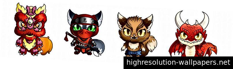 Новые кастомные милашки! 1) Лев Фокс; 2) Красный ниндзя; 3) оборотень кошка; 4) Дьявол Дракон.