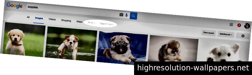 Η αναζήτηση εικόνων Google την συνθλίβει με μενού υπερχείλισης δίπλα-δίπλα. Το φτωχό κουτάβι στα δεξιά θέλει αυτό το ναυάγιο.