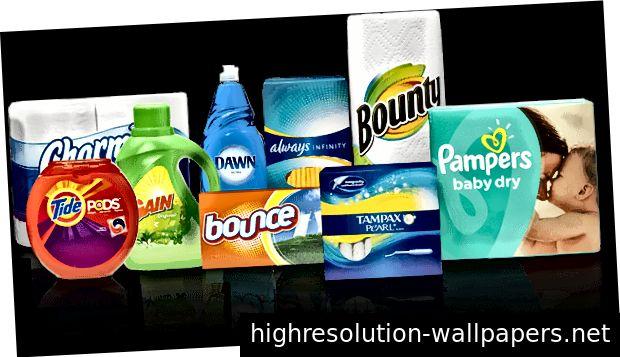 Et udvalg af nogle af de mærker, som P&G fremstiller.