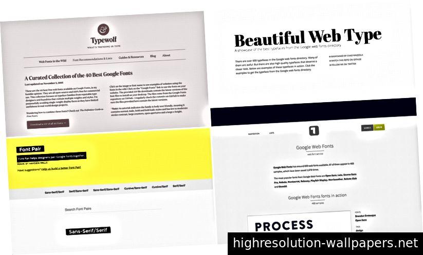 Χρησιμοποιήστε ιστότοπους που δημιουργούν δωρεάν γραμματοσειρές όπως Typewolf, Όμορφη Web Type, Ζεύγος γραμματοσειρών και Typ.io.