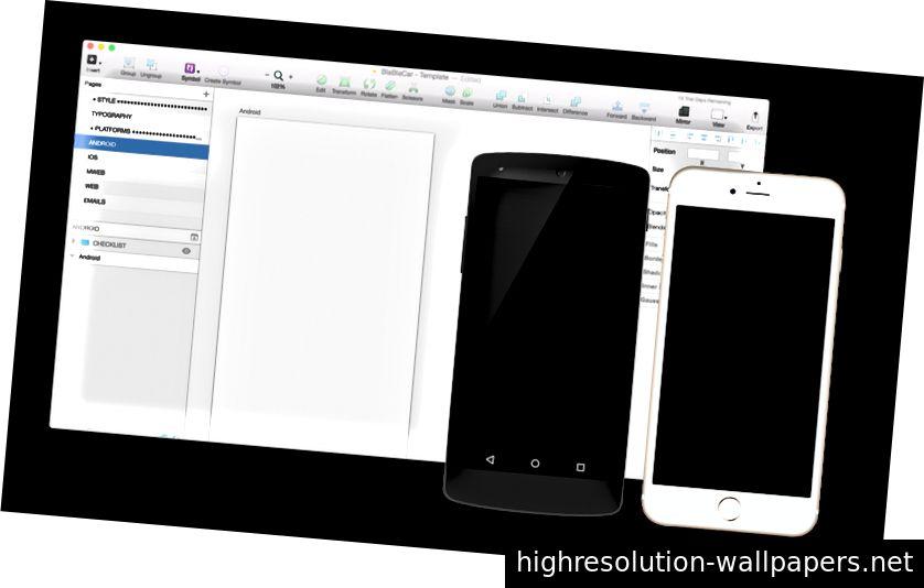 Οι σχεδιαστές εργαλείων που χρησιμοποιούνται στο BlaBlaCar: ένα άδειο αρχείο σκίτσων και 2 τηλεφωνήματα ελέγχου.