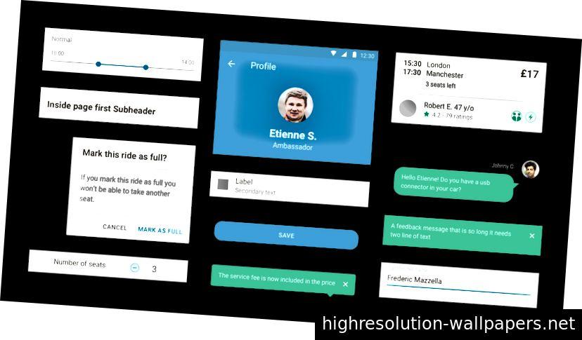 Δείγμα σχεδιαστές τούβλων UI χρησιμοποιεί στο BlaBlaCar.