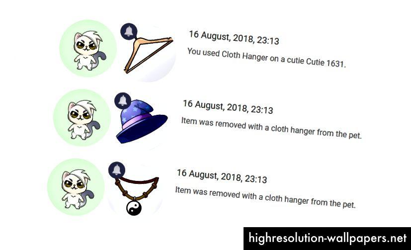 Spillere, der modtager underretninger om genstande, der er fjernet af en kludophæng.