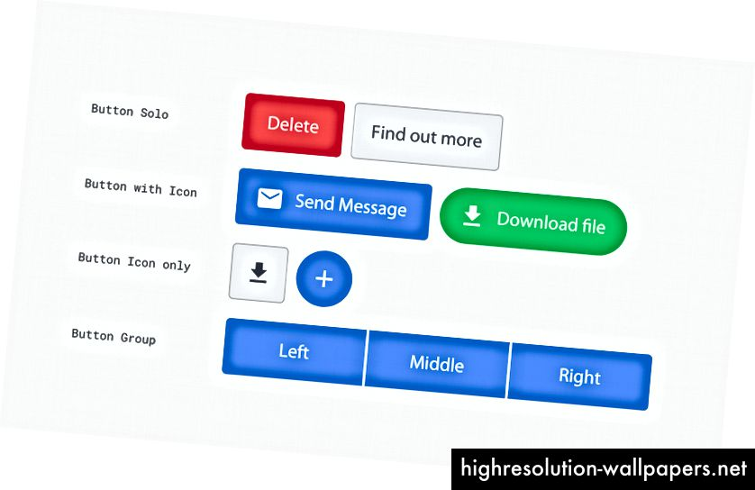 4 estilos de botones en una variedad de colores y formas