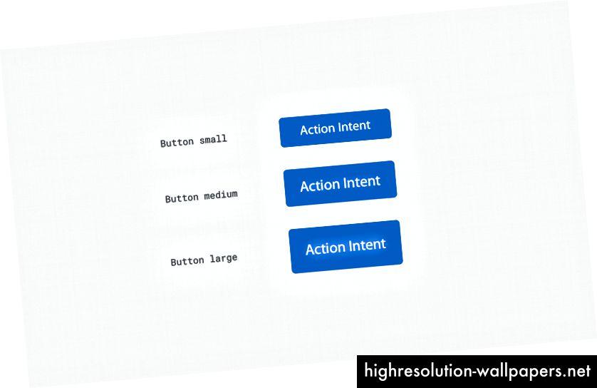 3 tamaños de botones basados en la cuadrícula de 8 puntos