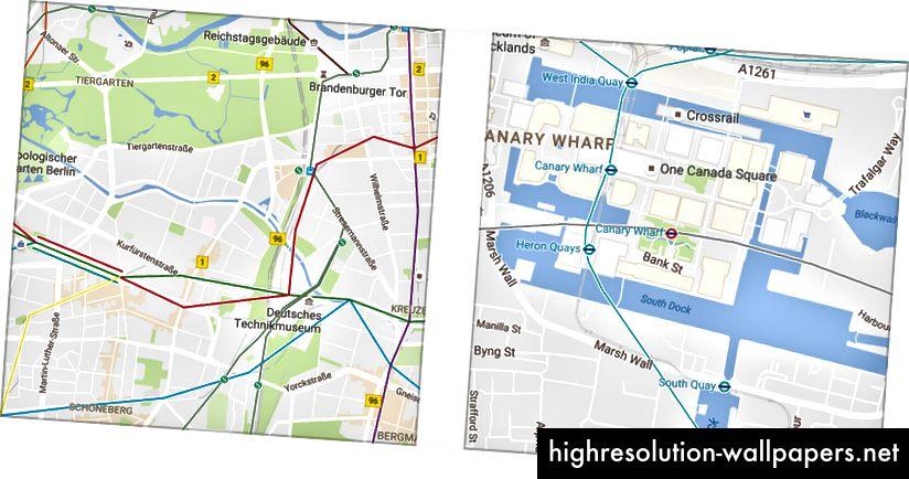 Οι χάρτες Google στο Βερολίνο (αριστερά) και στο Λονδίνο (δεξιά)