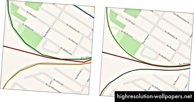 Един пример, който мотивира съвпадението с OSM, дори когато формите са налични и с прилично качество: В Монреал-Запад предоставените форми не следват пистата (изображение вляво), така че на нивото на улицата изглежда ужасно. След съвпадение с OSM (вдясно) линиите са много по-гладки.