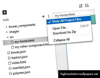 Μπορείτε επίσης να δείτε όλα τα αρχεία του έργου σας. Είναι ακριβώς όπως μια κανονική εφαρμογή. Δεν προσθέτουμε επιπλέον εξαρτήσεις.