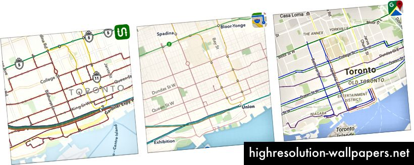 Toronto: Transit vs Apple vs Google