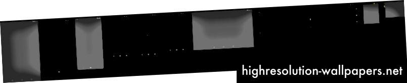 Et par af de formfaktorer, vi designer til. (Den sorte vandrette linje repræsenterer tilstand af delt skærm)