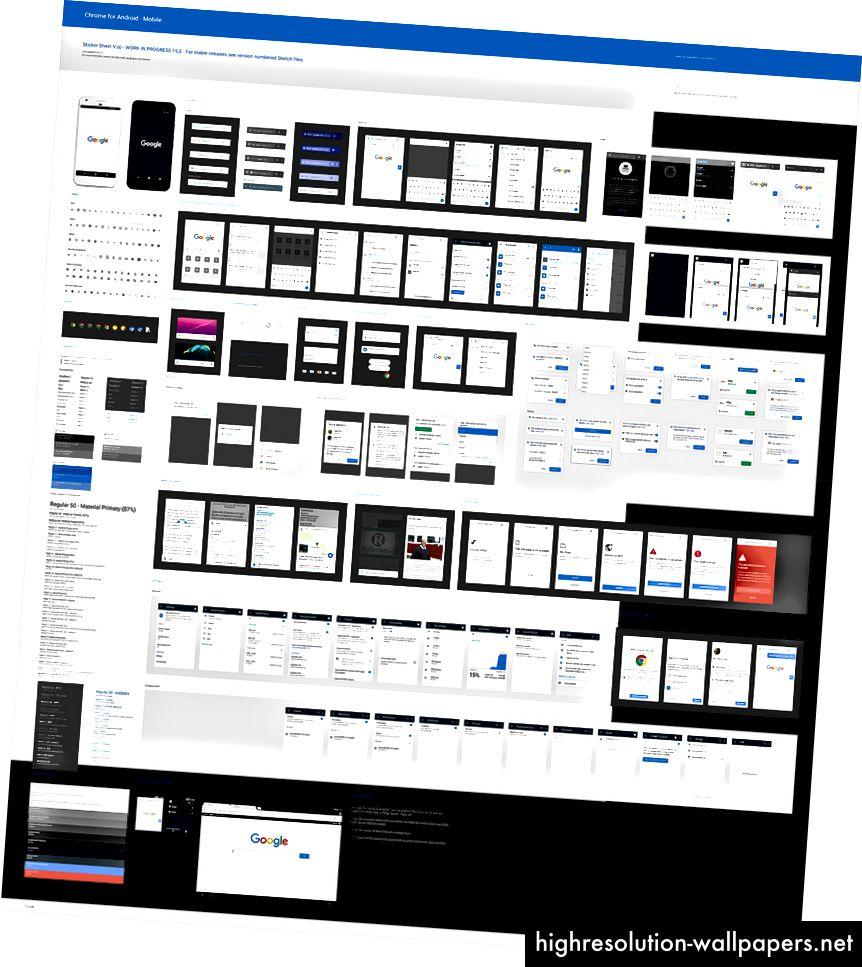 Vores v1 (M54) klistermark - kortlægning af enhver farve, tekst, ikon og komponent i vores UI