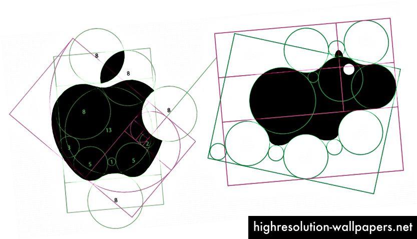Rob Janoff brugte Golden Ratio til at designe Apple Logo.