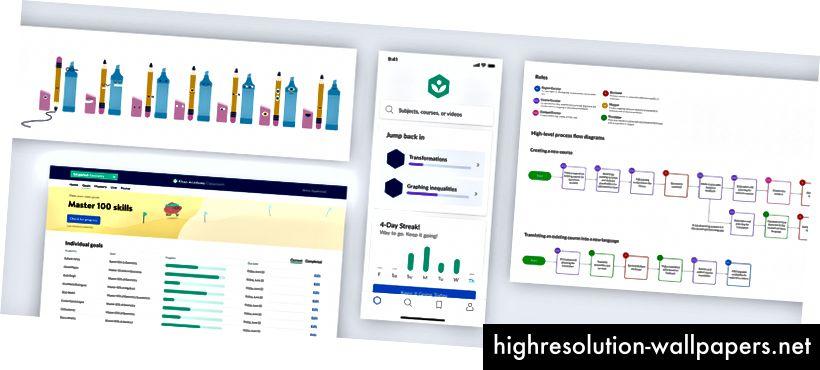 Njuškati neke nedavne radove u tijeku, uključujući dizajn znakova, nadzornu ploču učitelja, mobilnu aplikaciju i korisničke tokove za stvaranje sadržaja.