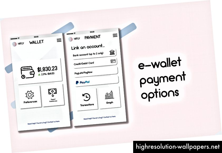 Zaslon aplikacije za postavke računa HiFly (https://www.behance.net/gallery/62223429/HiFLY)