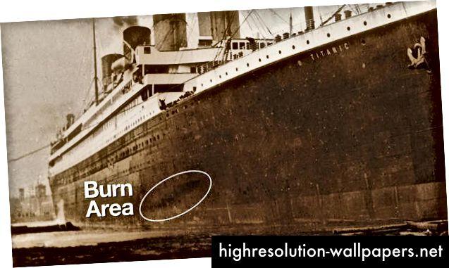 Mørkt mærke på Titanics skrog. Foto: CBS News