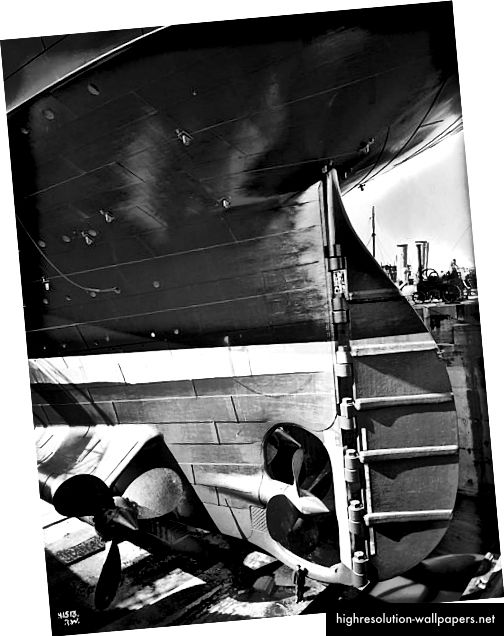 Stern og ror til Titanic / olympisk 1911. Foto: Robert John Welch