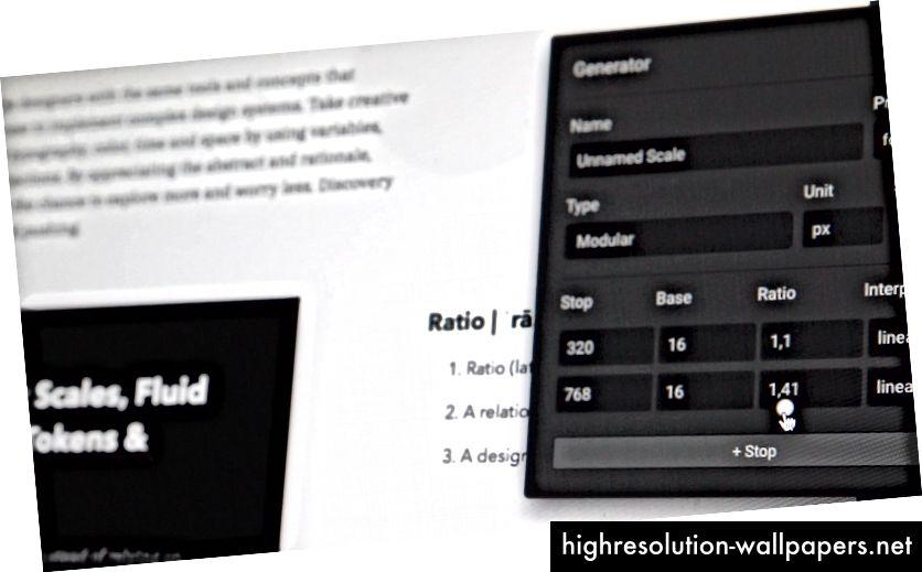 Opsætning af modulskalaer i forhold, der kan hjælpe med lydhør typografi. Skriftstørrelser kan skaleres flydende, og du kan kontrollere et helt layout ved at justere et par indstillinger og forhold.