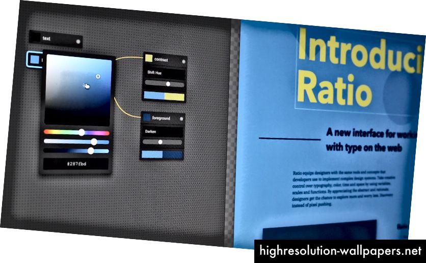 Lærredet viser en basisfarve (blå), en farvetone-farvet farve (gul) og en mørkere blå farve, der bruges til kortet i bunden.