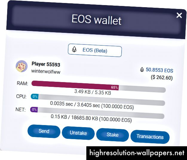 EOS-lompakon tilastot (CPU / NET / RAM)
