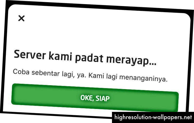 Og dette er den indonesiske version, vi bruger 'padat merayap', lokal betegnelse for trafikpropper, som en metafor for serverfejl.