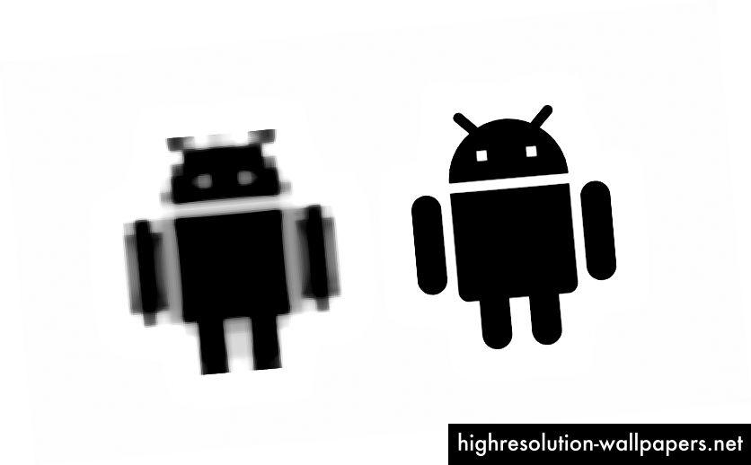 Artefakti iz (ekstremnog) povećanja rasterske slike (lijevo) vs vektorske slike (desno)