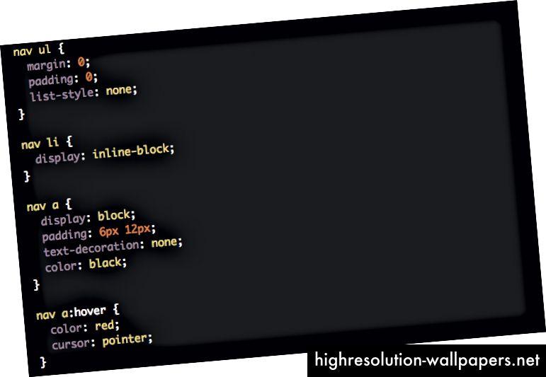 Classi CSS per il menu di navigazione