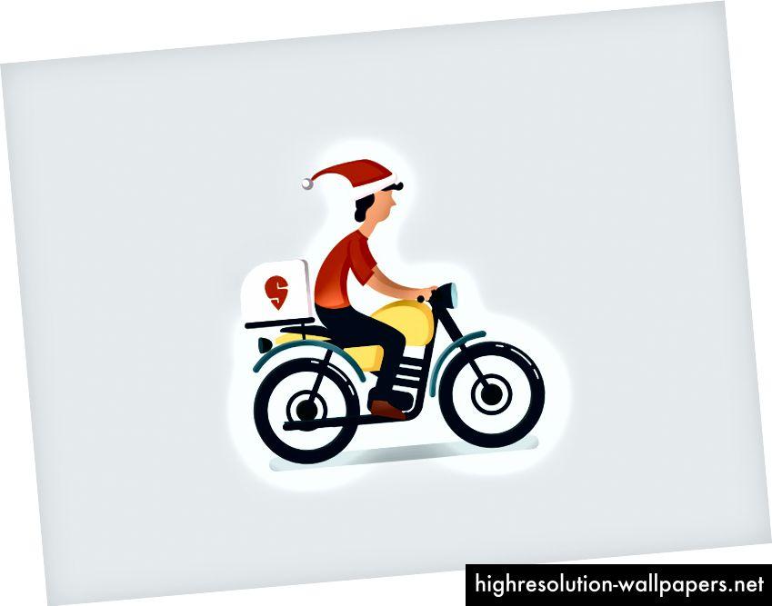 Una simple ilustración de un Delivery Executive en bicicleta
