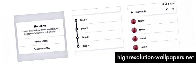 Κουμπιά, Συνδεδεμένες λίστες και Ενιαίες λίστες με εικόνες