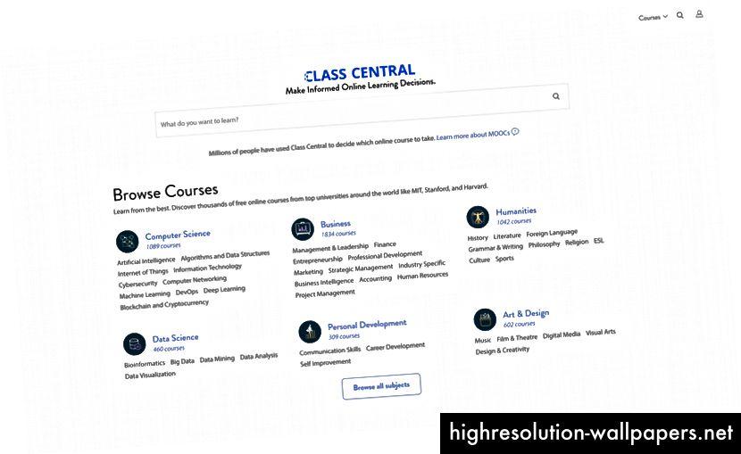 Κεντρική σελίδα του Class Central.