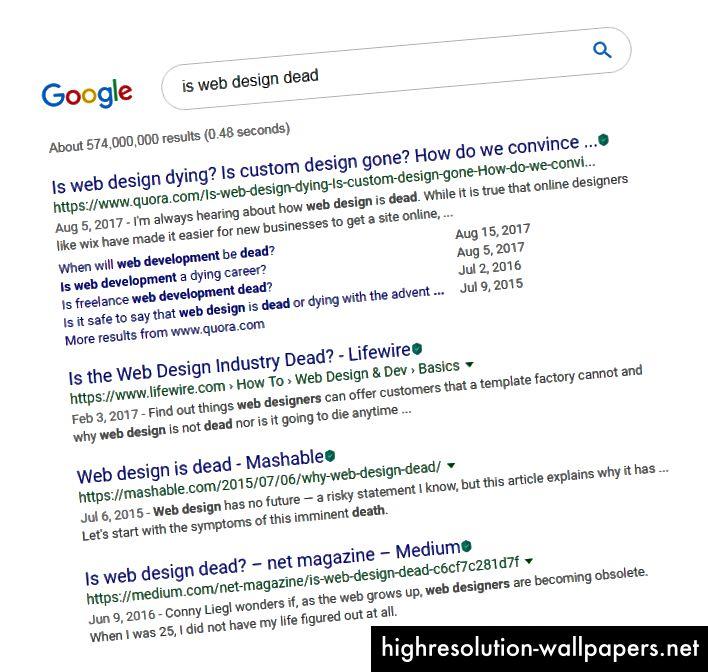 Søgeresultater på Google