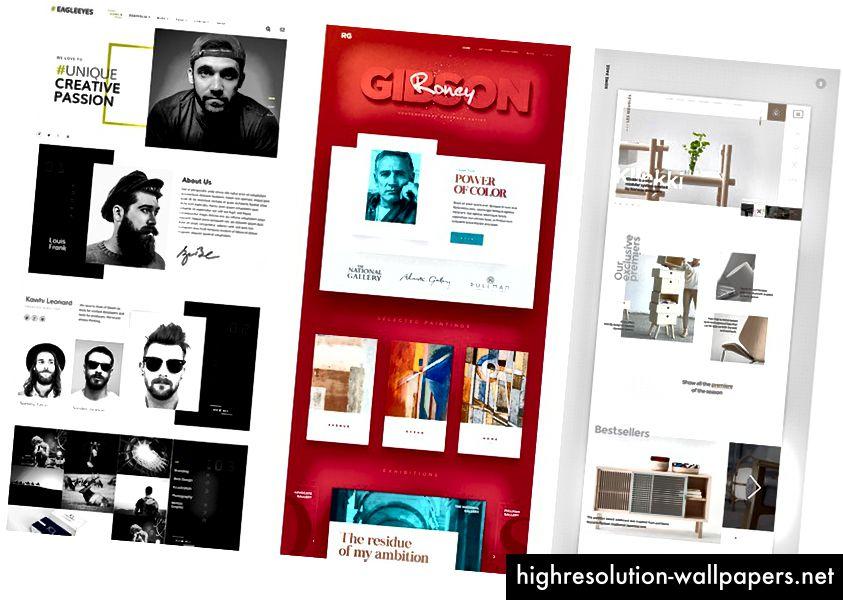 Moderne webdesign fra Pinterest